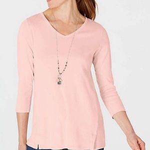 J. Jill Light Pink Pima Cotton 3/4 Sleeve V Neck